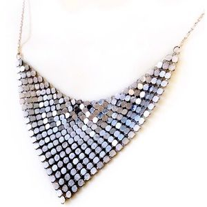 Vintage Silver Metal Chainmail Disco 70's Necklace